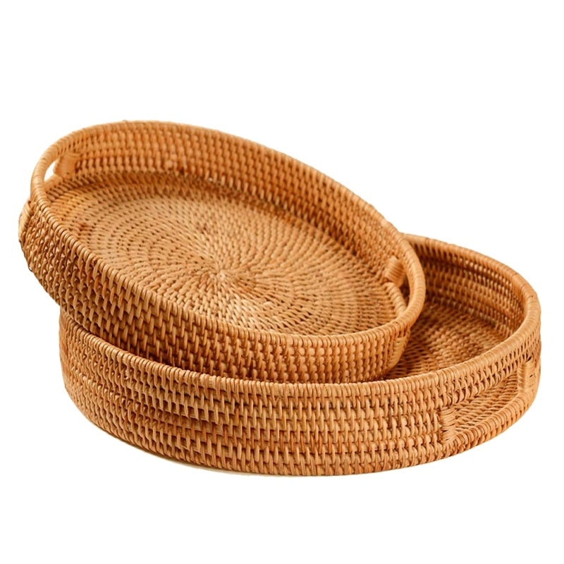 Set of 2 Practical Rattan Handwoven Round High Wall Severing Tray