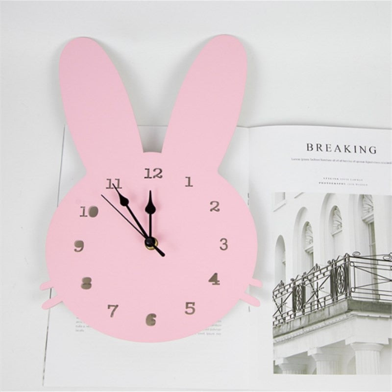 Nordic Wooden Rabbit Swan Crown Cloud Wall Clock Kids Room Decorations