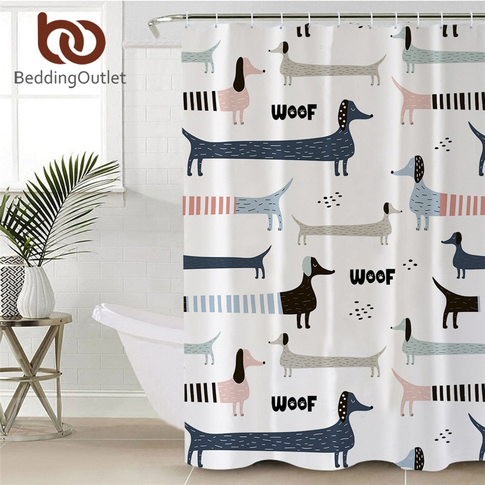 Cartoon Dog Bath Curtain