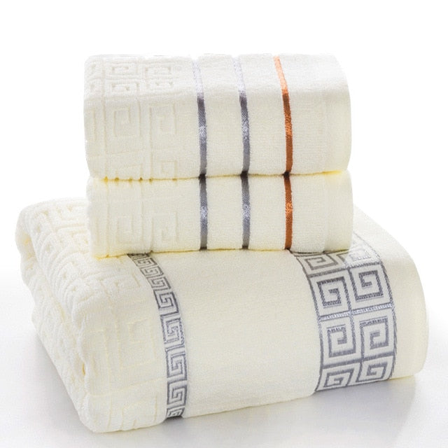 100% Cotton 3pcs Set of Face Hand Bath Towel