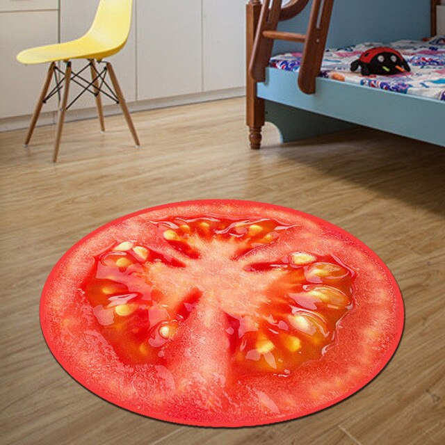 Home Warmly Fruit Rug Kids Sitting Carpet Round Rug