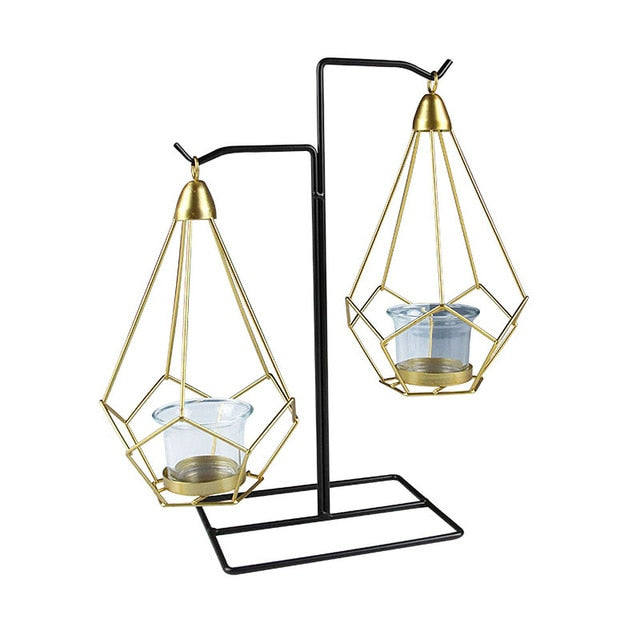 Set of Nordic Style Geometric Gold Glass Iron Centerpieces Candle Holder  with matching cups