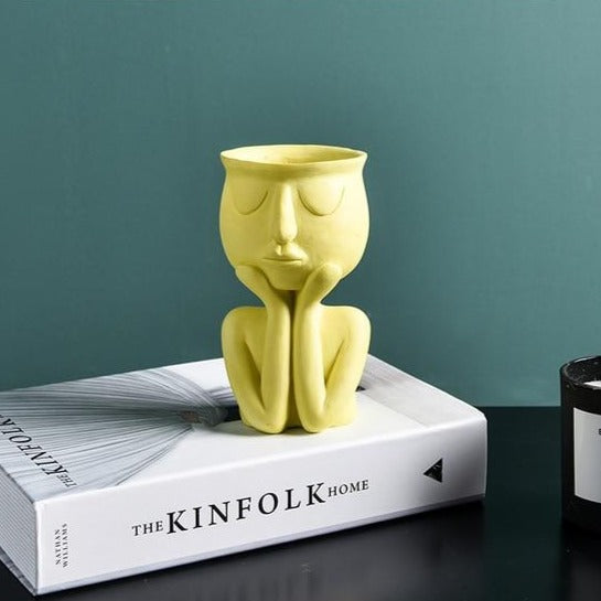 Nordic Minimalist Ceramic Abstract Vase Head Shape