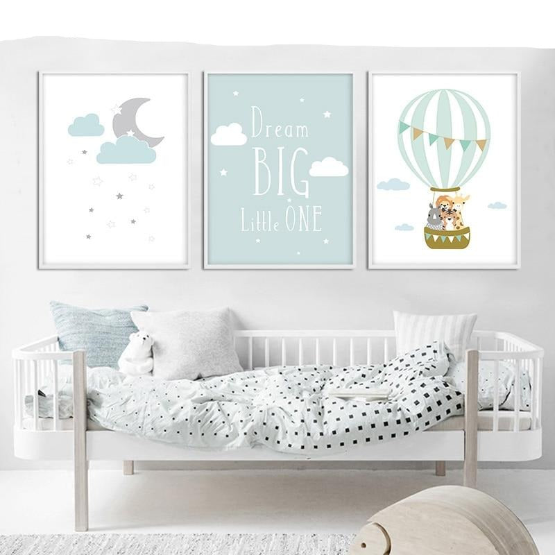 Dream Big Quotes Printed Unframed Canvas Nordic Nursery Decor