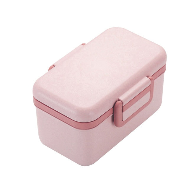 BPA Free Lunch Box Eco-friendly Material Bamboo Fiber Portable Bento Box Food Storage Container Microwaveble For Picnic
