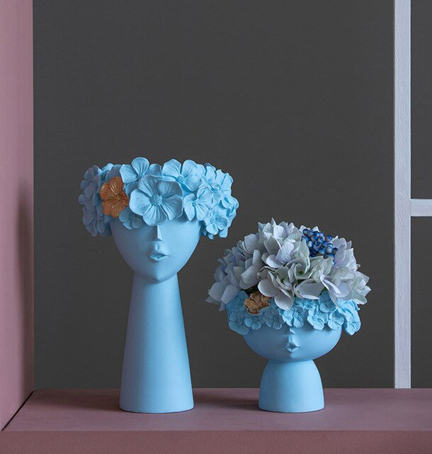 Set of two Colors Human Head Ornaments Decorative Resin Vase