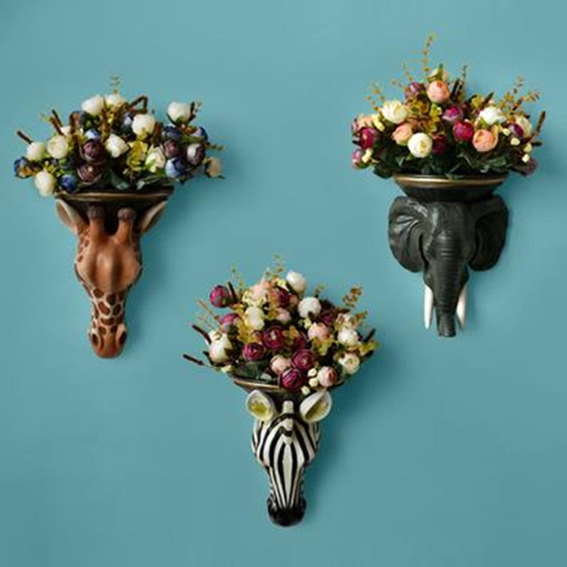 Creative animal head wall vase