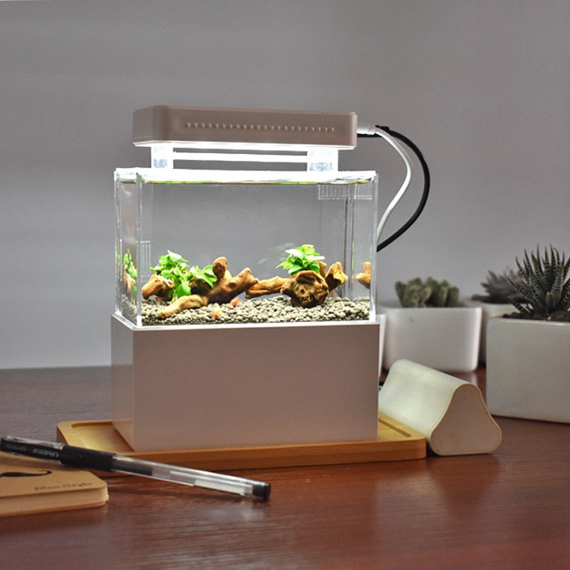 Aquarium FishTank with LED Water for desk decor