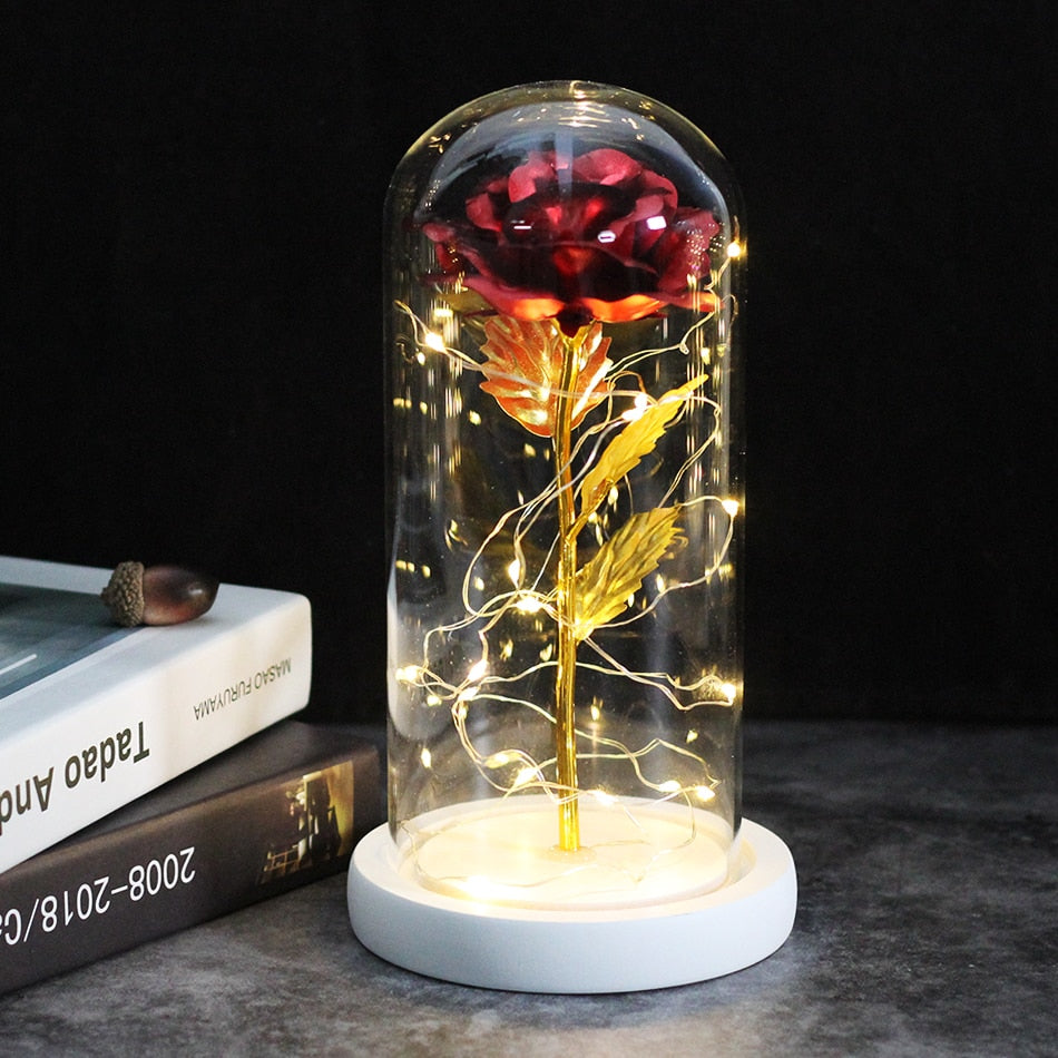 Middle Beauty And The Beast Rose, Rose In Glass Dome, Forever Pink, Red Rose, Preserved Rose, Belle Rose Special, Romantic Gift