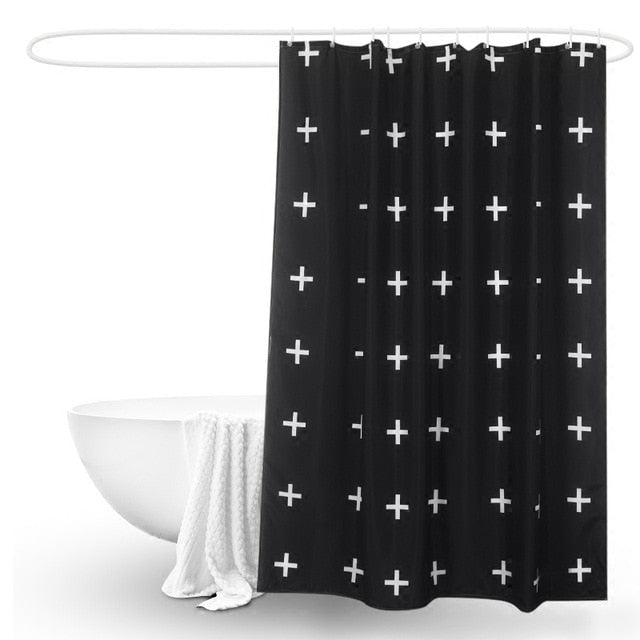 Geometric digital printing shower curtain