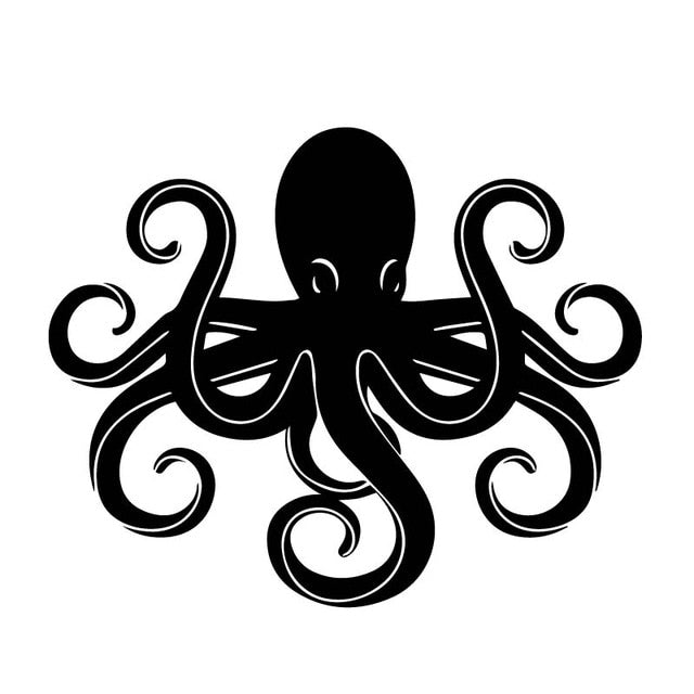 12M*14.8CM Car Vinyl Car Stickers Octopus Decals Black/Silver