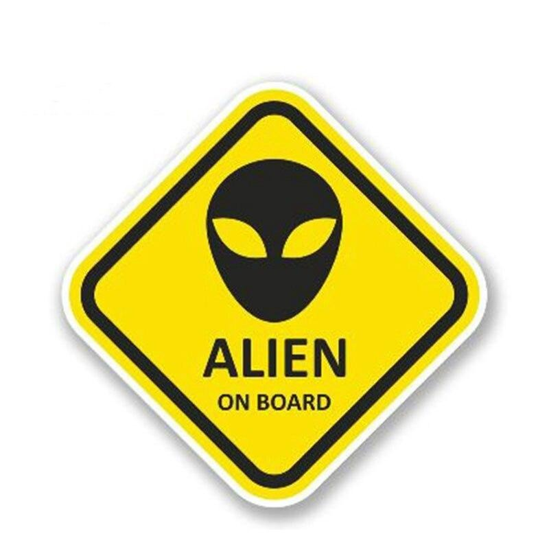 13cm x13cm Warning Car Sticker Alien on Board Vinyl Decal Waterproof