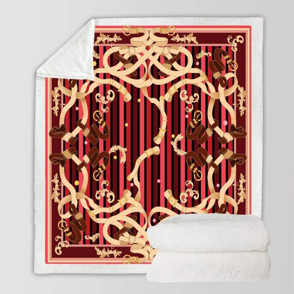 Warm 3D Print Baroque Vintage Style Soft Fleece Blanket
