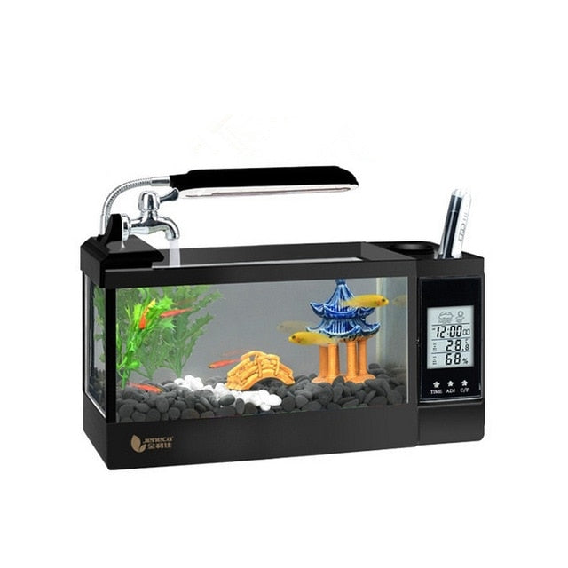 LED Light Aquarium Multifunction Clock Fish Tank with pen holder