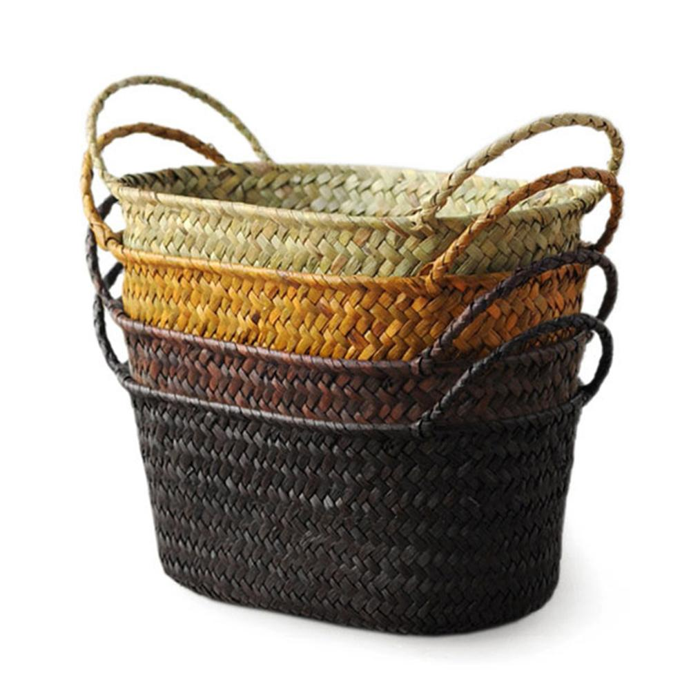 Handmade DIY Straw Flower Pot Basket Fruit Sundries Organizer Foldable Laundry Straw Patchwork Wicker Rattan Seagrass Belly
