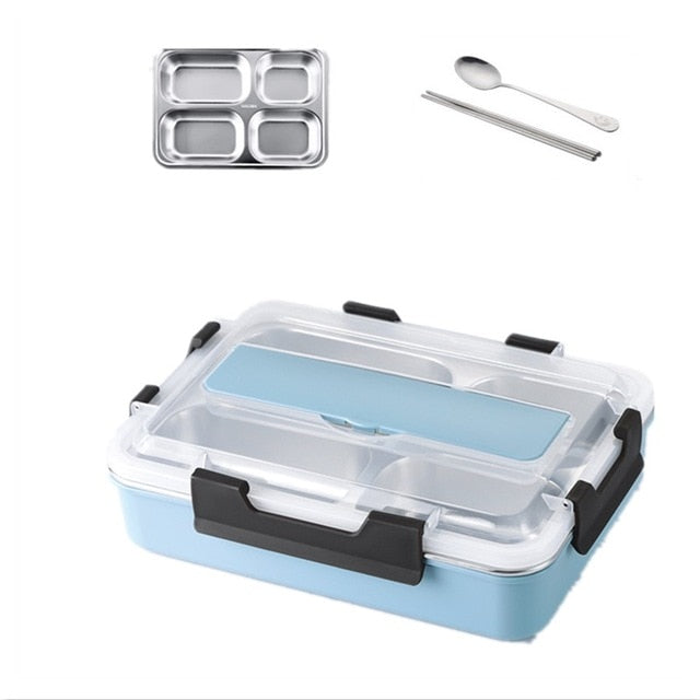 Stainless Steel 304 Lunch Box With Spoon Leak-proof