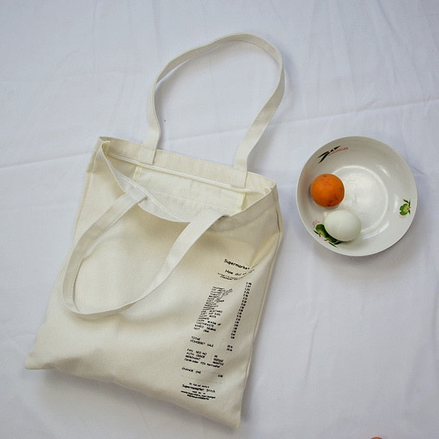 Large Capacity Canvas Tote Shoulder Bag Fabric Cotton Cloth Reusable