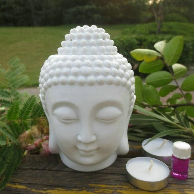 NOOLIM Buddha Head Aromatic Oil Burner Ceramic Aromatherapy Lamp Candle Aroma Furnace Oil Lamp Home Decor Incense Burner