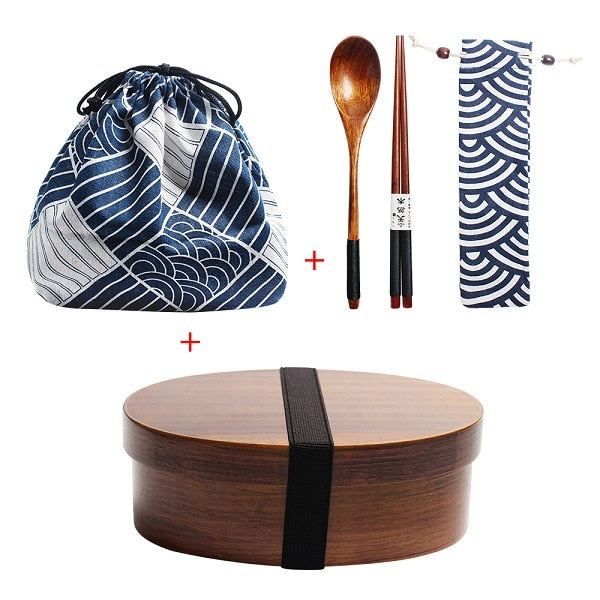 Wooden Lunch Box Picnic  Japanese Bento Box for School Kids