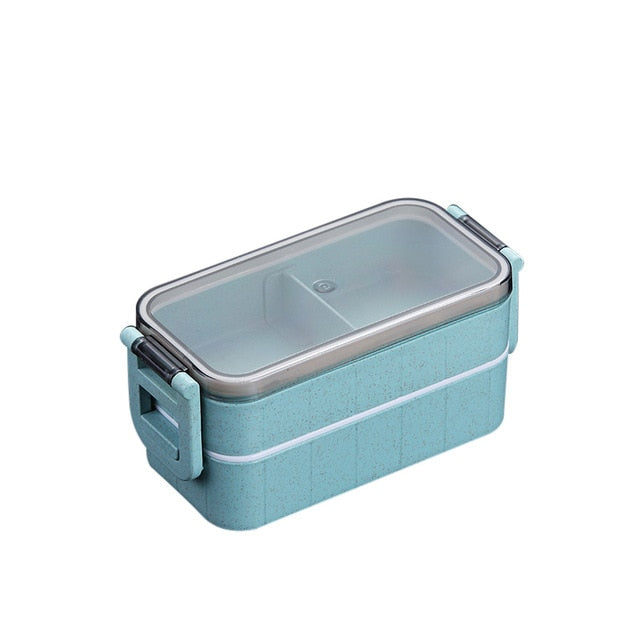 Microwave Bento Box Wheat Straw Child Lunch Box Leak-Proof