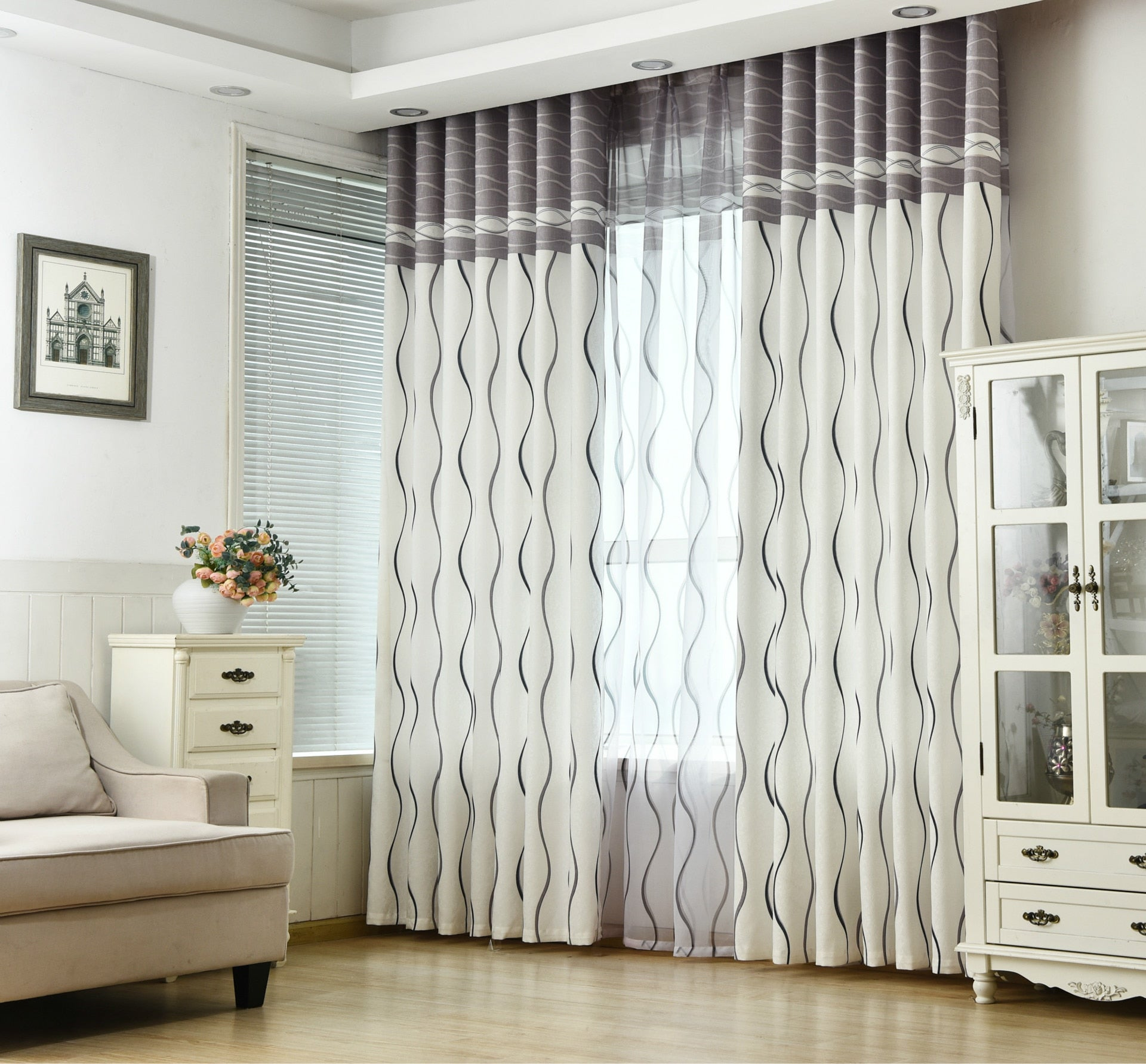 Classic Black and White Geometric window Curtain
