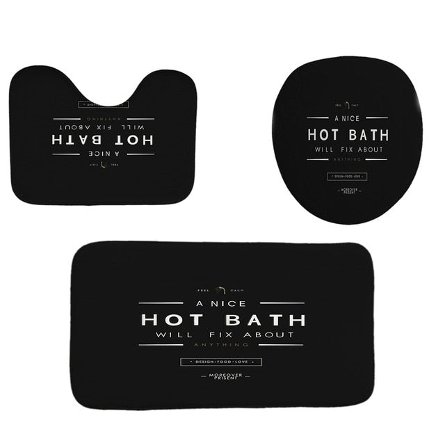 HOT BATH | Black Design | Shower Curtain
