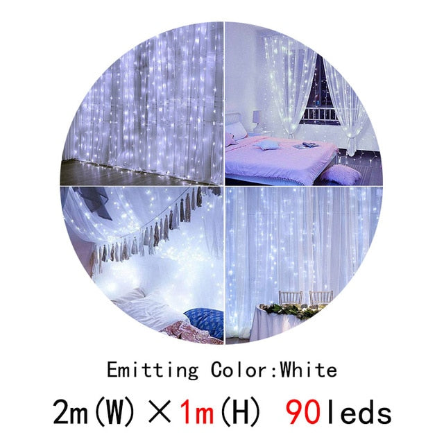 Led Curtain String Light Led Christmas Garland Pa