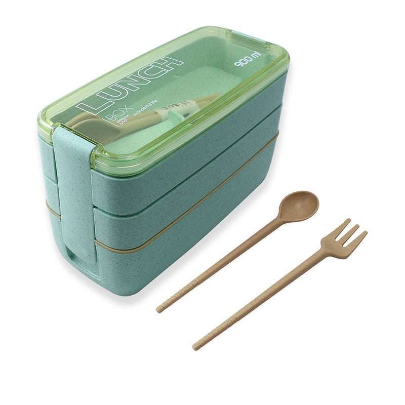 900ml 3 Layers Lunch Box Bento Food Container Eco-Friendly
