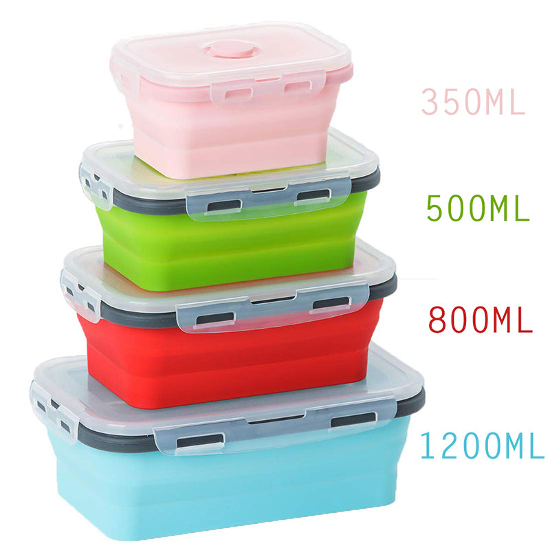 4 Sizes Collapsible Silicone Food Container leakfroof microwavable