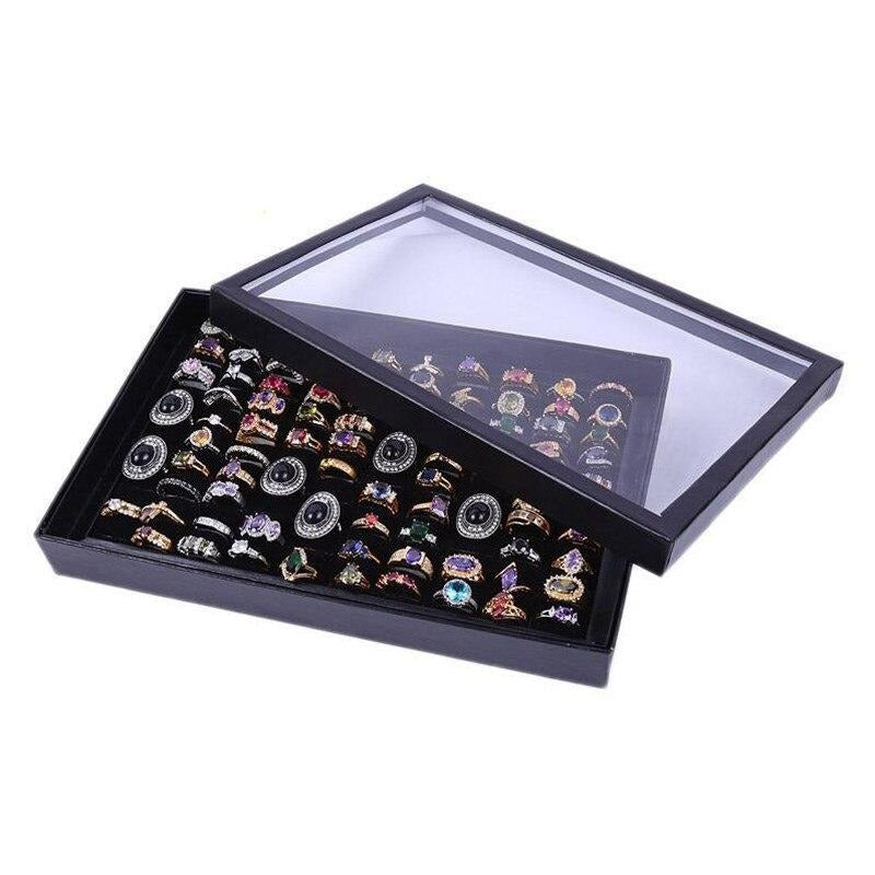 100 Slot Black Velvet Cardboard Jewelry Storage
