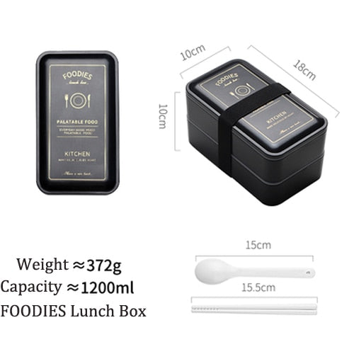 Portable Rectangular Lunch Box Double Plastic Health Material Bento Box 1200ml