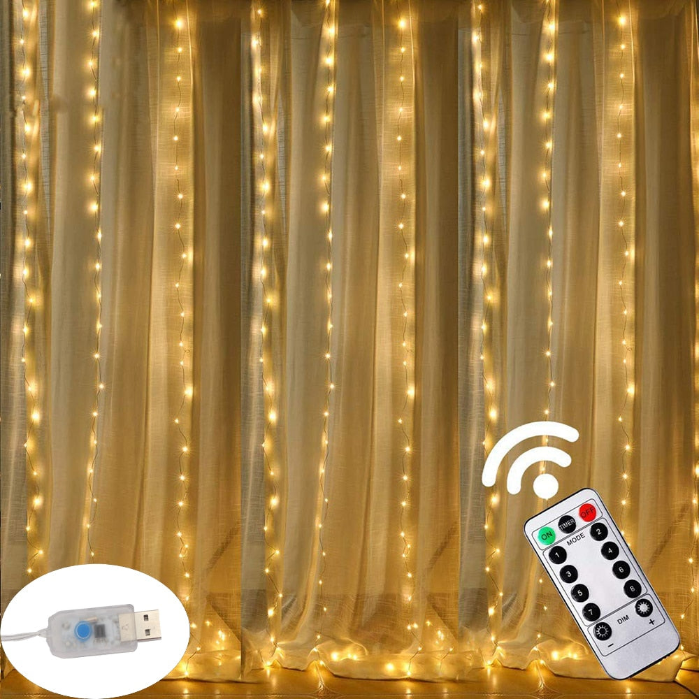 3M LED USB Power Remote Control Curtain
