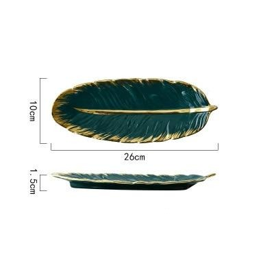 Luxury Ceramic Platter Storage Tray with Gold Rim Green Leaf