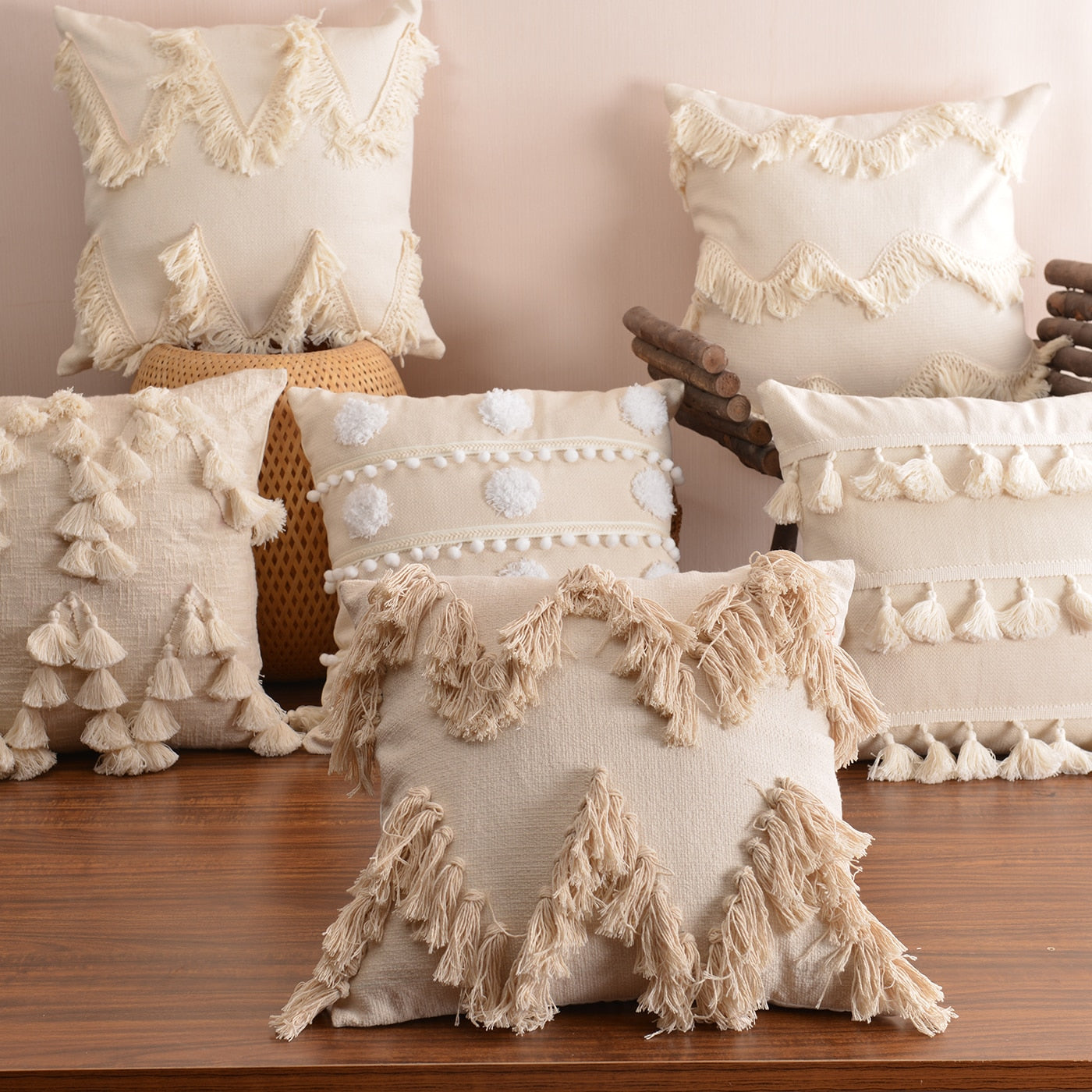 Boho Style Cushion Cover Plush With Tassels Cute Circle Moroccan Style Pillow Case Macrame  Home sofa Decorative drop shippng
