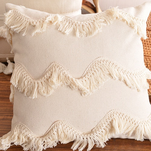Boho Cushion Cover Plush With Tassels Cute Circle Moroccan Style