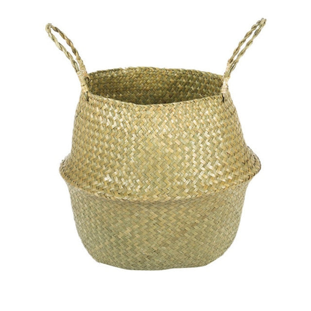Foldable Natural Seagrass Woven Storage Basket planter