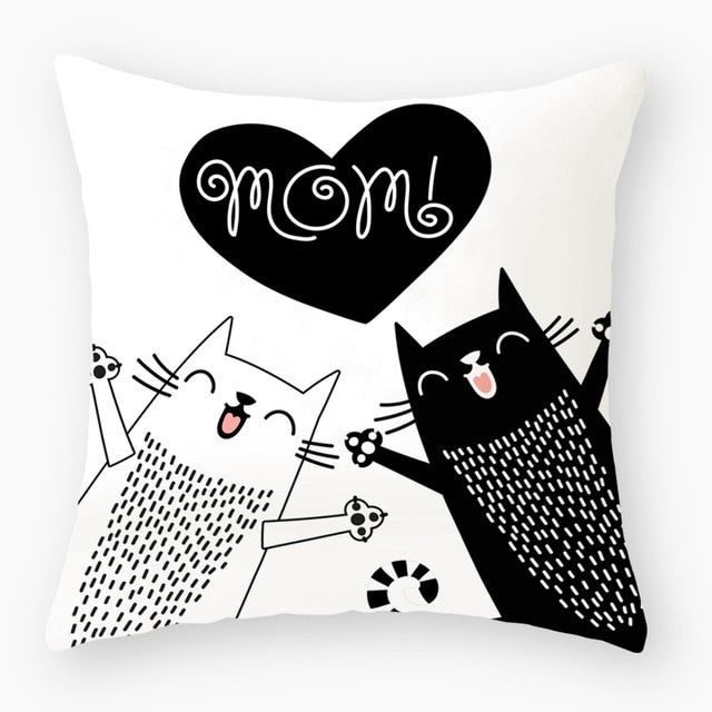 Lovely Polyester Cat Lovers Nursery Decoration Cushion Cover