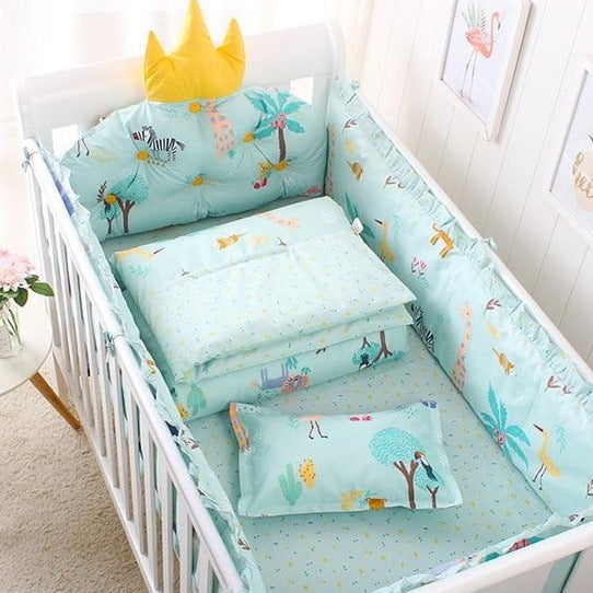 100% Cotton Removable Washable Baby Crib Side Protector Set