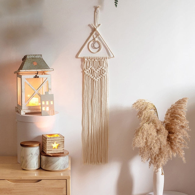 Nordic Star Moon Macrame Dream Catcher Modern Boho Mascot Room Decor