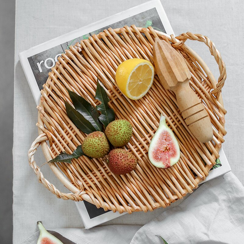 Multifunctional Binaural Fruits Plate Eco Natural Dessterts/Bread Trays