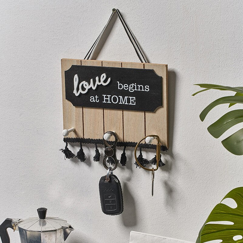Decorative Wooden Sign Coat Hat Key Holder 3 Hooks