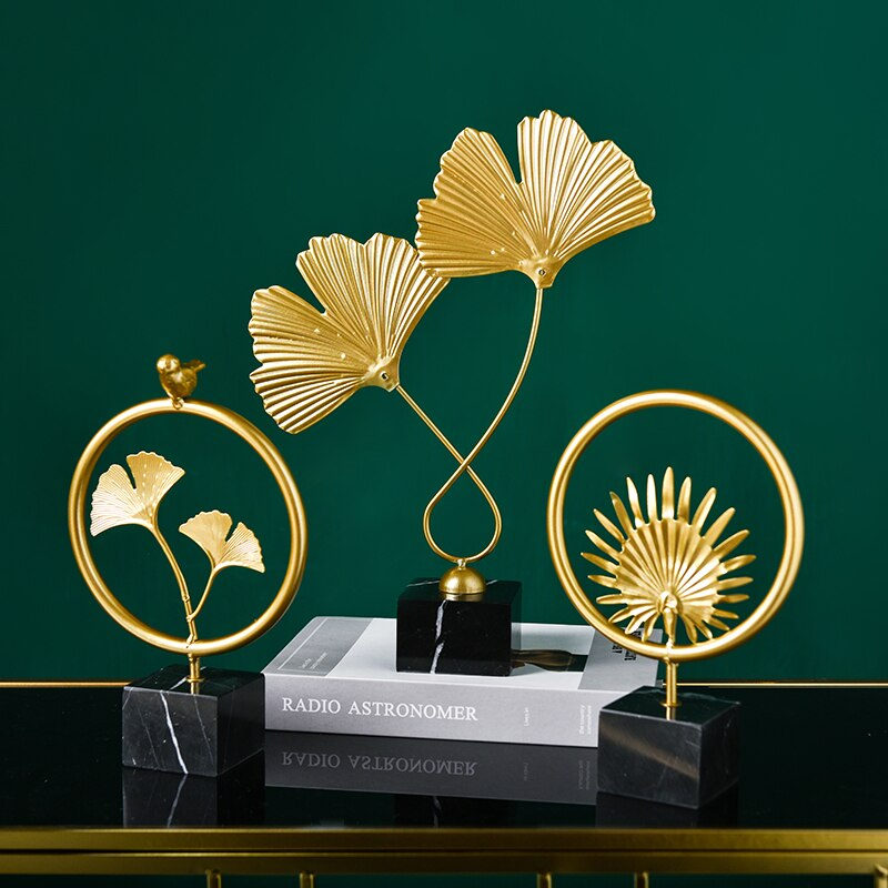 Golden Ginkgo Leaf Model Home Office Decor Accessories Gifts