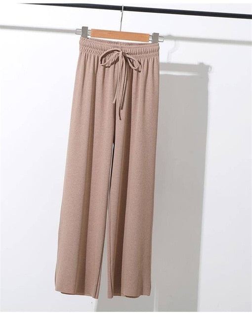 Women Summer Thin Knit Cotton and Polyester Trousers Wide Leg Loose Pants