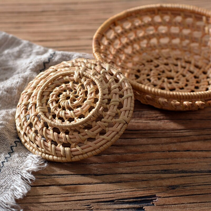 Rattan Bread Basket Round Japanese-style  Hand-Woven