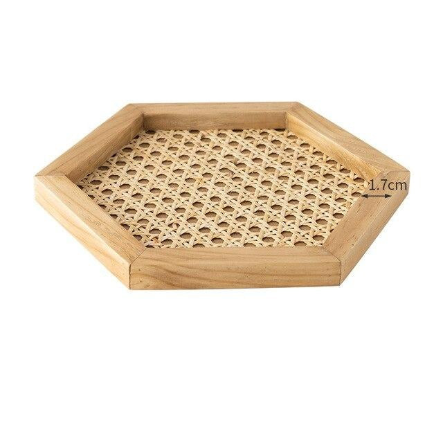 Home Nordic Rattan Woven Tray Wooden Handmade