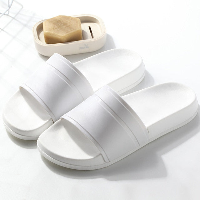 Simple Black White Platform Slippers