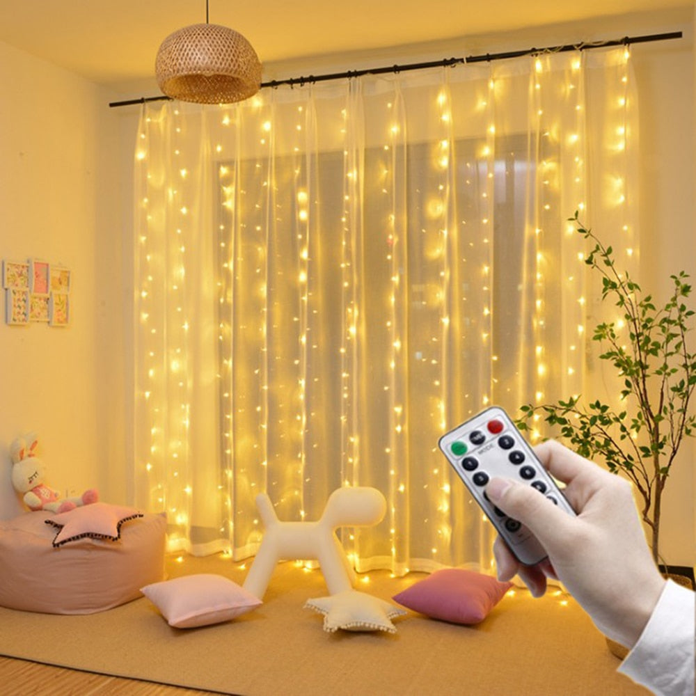 Remote LED String Lights Curtain USB Battery Fairy Lights