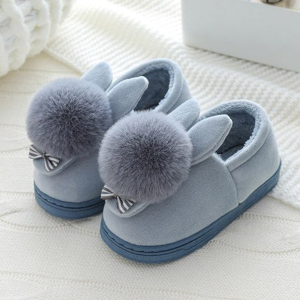 Girls Winter Cartoon Rabbit Cotton Home Slippers