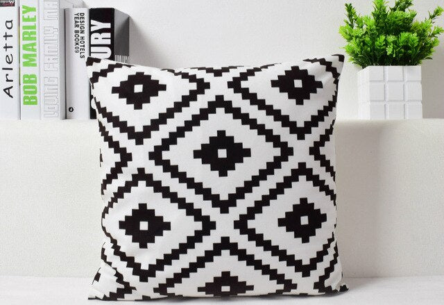 "Black White Geometric Pattern Throw Pillow Case 18"" Velvet Decorative Cushion Covers"