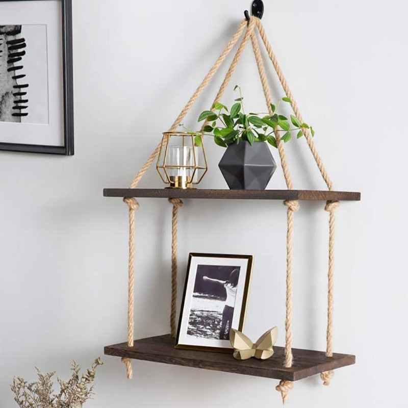 Wooden Plant Holder Hanging Shelf Living Room Organizer